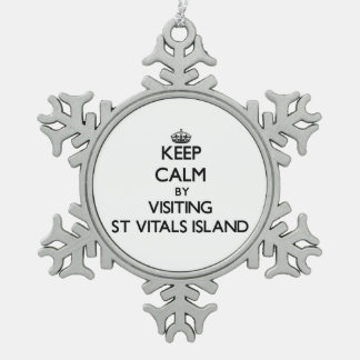 Keep calm by visiting St Vitals Island Michigan Ornaments
