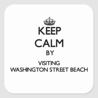 Keep calm by visiting Washington Street Beach Mich Square Stickers