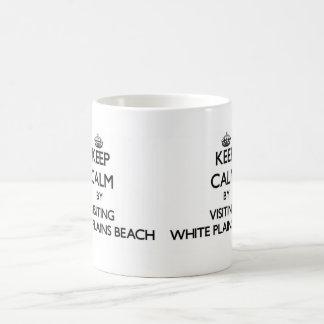 Keep calm by visiting White Plains Beach Hawaii Basic White Mug