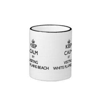 Keep calm by visiting White Plains Beach Hawaii Ringer Coffee Mug
