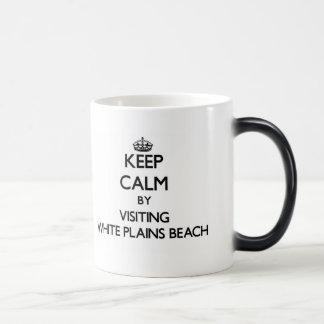 Keep calm by visiting White Plains Beach Hawaii 11 Oz Magic Heat Color-Changing Coffee Mug