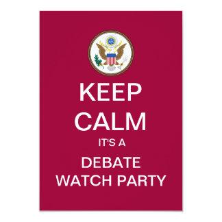 "KEEP CALM Campaign 2012 Debate Watch Party Invite 5"" X 7"" Invitation Card"