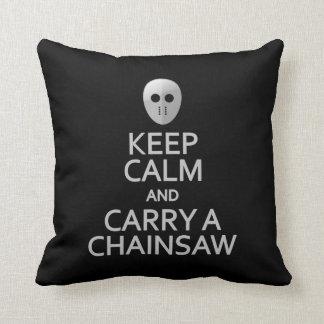 Keep Calm & Carry a Chainsaw custom pillow