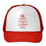 Keep Calm & Carry On Fire Engine Red Text Trucker Hats