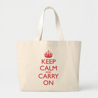 Keep Calm & Carry On Fire Engine Red Text Large Tote Bag