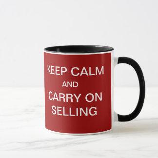 ...Keep Calm Carry On Selling Funny Sales Slogan Mug