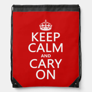Keep Calm Cary On Drawstring Bags