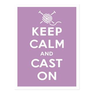 Keep Calm Cast On Postcard
