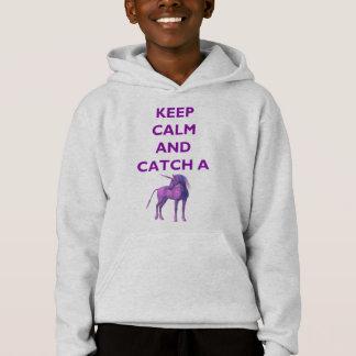 Keep Calm & Catch a Purple Unicorn Kids Hoodie
