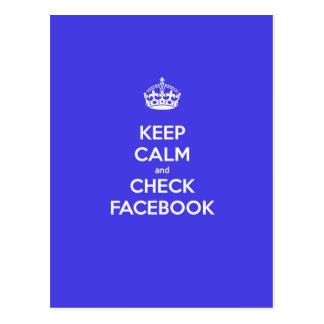 Keep Calm & Check Facebook Postcard