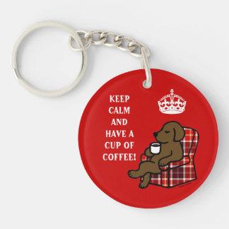 Keep Calm Chocolate Labrador Double-Sided Round Acrylic Keychain