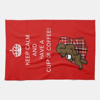 Keep Calm Chocolate Labrador Tea Towel