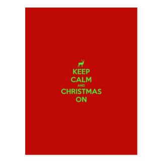 Keep Calm & Christmas On Postcard