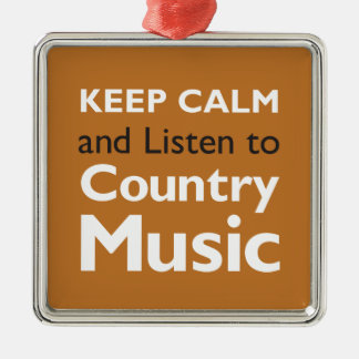 Keep Calm Country Silver-Colored Square Decoration