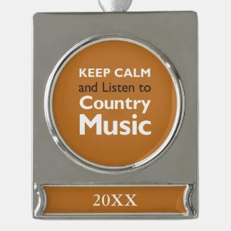 Keep Calm Country Silver Plated Banner Ornament