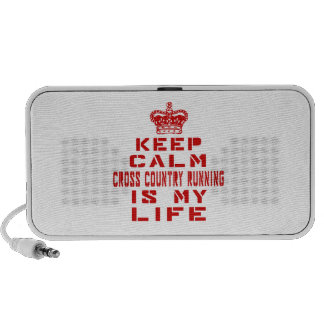 Keep calm Cross Country Running is my life iPod Speakers