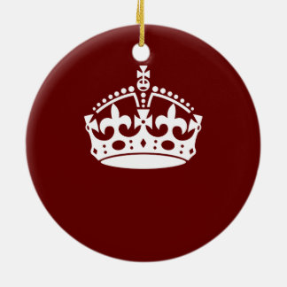 Keep Calm Crown Burgundy Red Accent Christmas Ornament