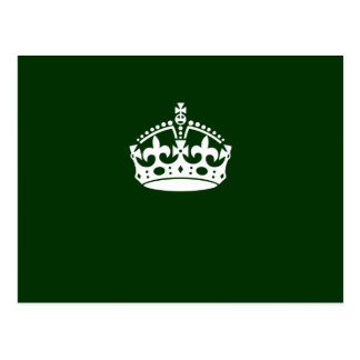 Keep Calm Crown Icon on Forest Green Postcard