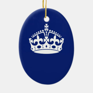 Keep Calm Crown Icon on Navy Blue Ceramic Oval Decoration