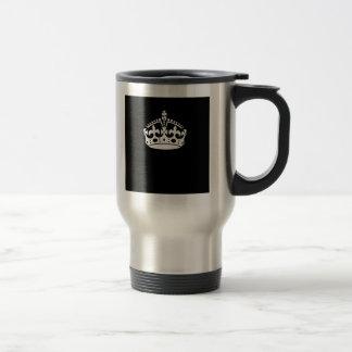 Keep Calm Crown on Black Coffee Mugs