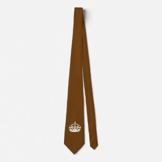 Keep Calm Crown on Chocolate Brown Tie