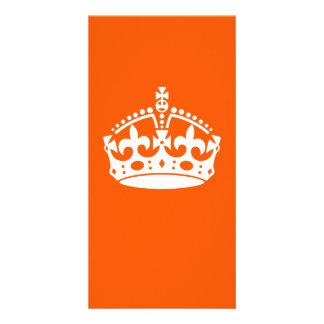 KEEP CALM CROWN on Orange Customize This! Customized Photo Card