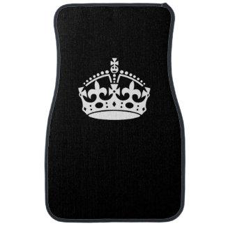 Keep Calm Crown on Solid Black Car Mat