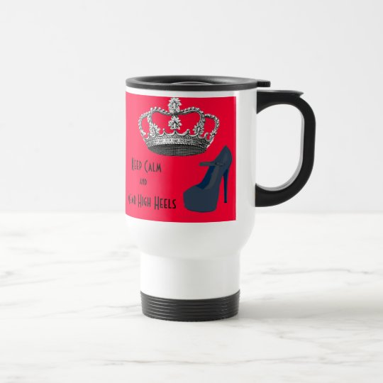 Keep Calm Crown Red Background Travel Mug