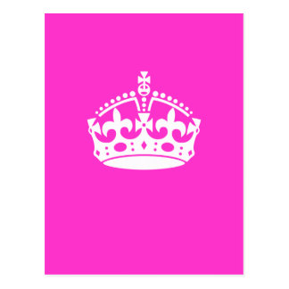 KEEP CALM CROWN Royal Icon on Pink Customize it Postcard