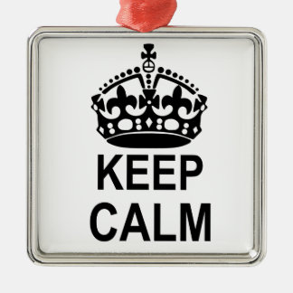 Keep Calm Crown Silver-Colored Square Decoration
