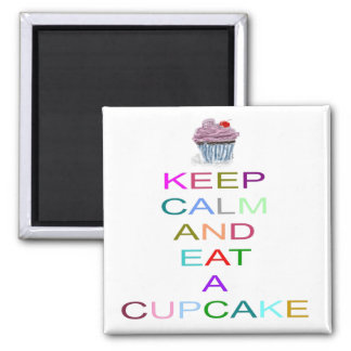 keep calm cupcake with cherry magnet