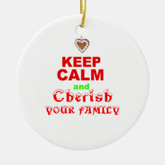 """""""Keep Calm"""" Cute Love of Family Xmas Holiday Quote Christmas Ornament"""
