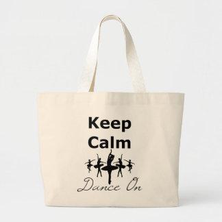 Keep Calm Dance On Large Tote Bag