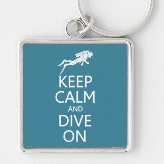 Keep Calm & Dive On custom color key chain