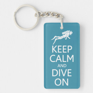 Keep Calm & Dive On custom color key chain