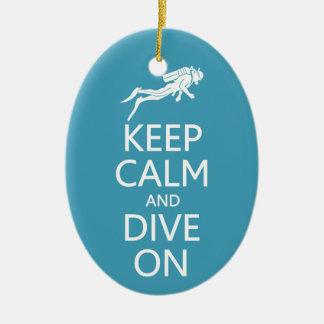 Keep Calm & Dive On custom color ornament