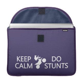 Keep Calm & Do Stunts custom color Macbook sleeve