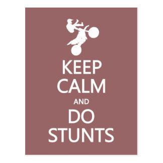Keep Calm & Do Stunts custom color postcard