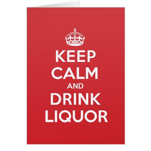 Keep Calm Drink Liquor Greeting Note Card