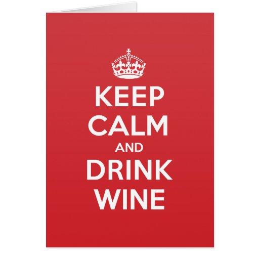 Keep Calm Drink Wine Greeting Note Card