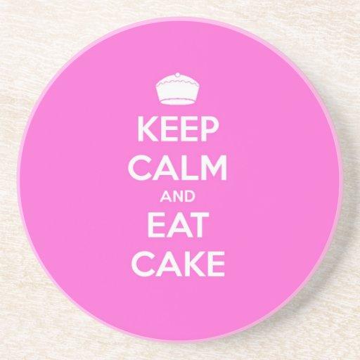 Keep Calm Eat Cake Drink Coaster Zazzle