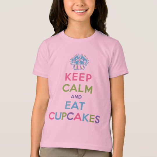 Keep Calm & Eat Cupcakes pink ringer T-Shirt