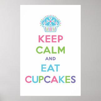 Keep Calm & Eat Cupcakes poster print pastel