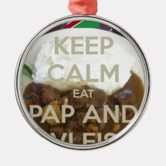 keep-calm-eat-pap-and-vleis.png Silver-Colored round decoration