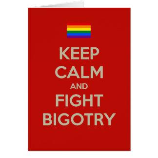 keep calm fight bigotry greeting card