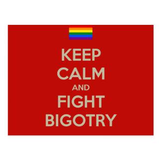 keep calm fight bigotry postcard