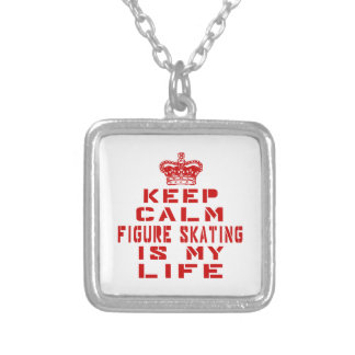 Keep calm Figure Skating is my life Square Pendant Necklace