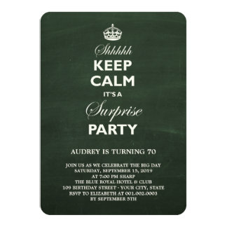 Keep Calm Funny Chalkboard Surprise Birthday Party 11 Cm X 16 Cm Invitation Card