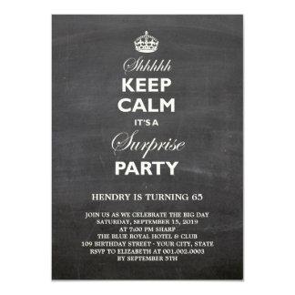 Keep Calm Funny Chalkboard Surprise Birthday Party 11 Cm X 16 Cm Invitation Card