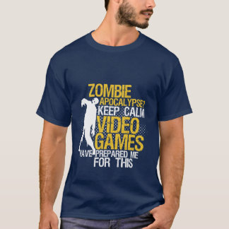 Keep Calm Funny Gaming T-shirt Zombie Apocalypse